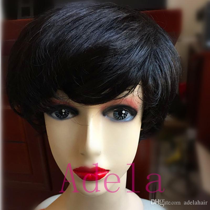 100% парики человеческих волос новый парик короткие прямые парики дешевые полный парик бразильский Пикси вырезать индийские человеческие волосы ни парики кружева