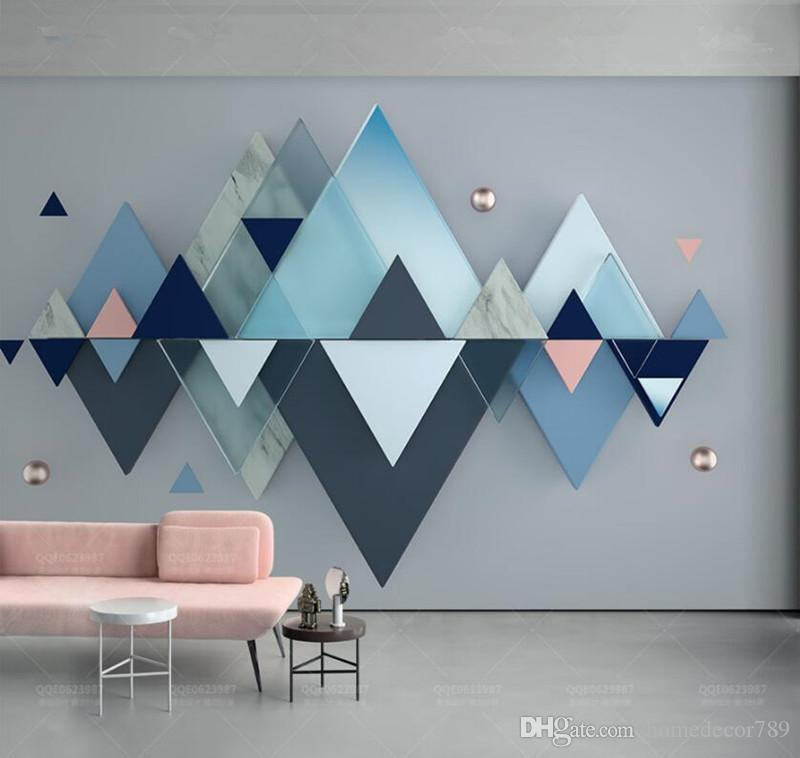 New Arrival Custom 3d Photo Wallpaper 3d Blue Geometric Triangles Splicing Nordic Style Bedroom Sofa TV Background Wall Decoration