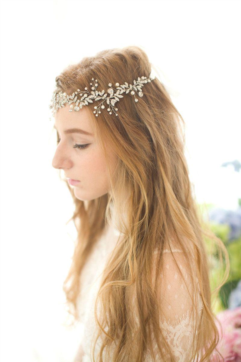 Fashion Wedding Headdress Gold Pearl Bridal Headband Rhinestone Handmade Wedding Hair Accessories Pearl Crystal Bridal Headpiece Tiara