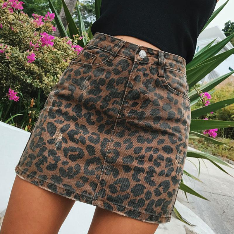 0844d12491 2019 Sexy Leopard Print Denim Skirt Women Summer Bodycon High Waist Pencil  Skirt Streetwear 2017 Fashion Casual Mini Saia Women From Freea, $31.84 |  DHgate.
