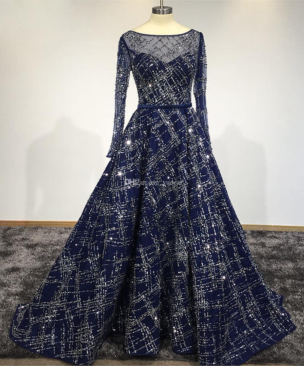 Moda 2019 Seksi Scoop Sheer Boyun Kadın Abiye giyim Shining Lüks Prenses Yıldız Nakış Uzun Kollu Illusion Elbiseler için Pageant Sıcak