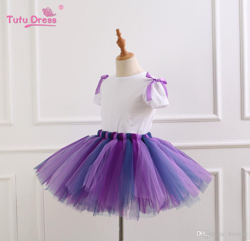 Summer Kids Unicorn Tutu Gonna Imposta Princess Gonna Pettiskirt Ruffle Balletto Dancewear Bambini 3 pz Abiti Abiti Unicorno M034-5