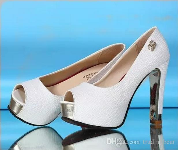 White wedding shoes glitter sequins bridal shoes peep toe thick high heel pumps Size 34 to 39