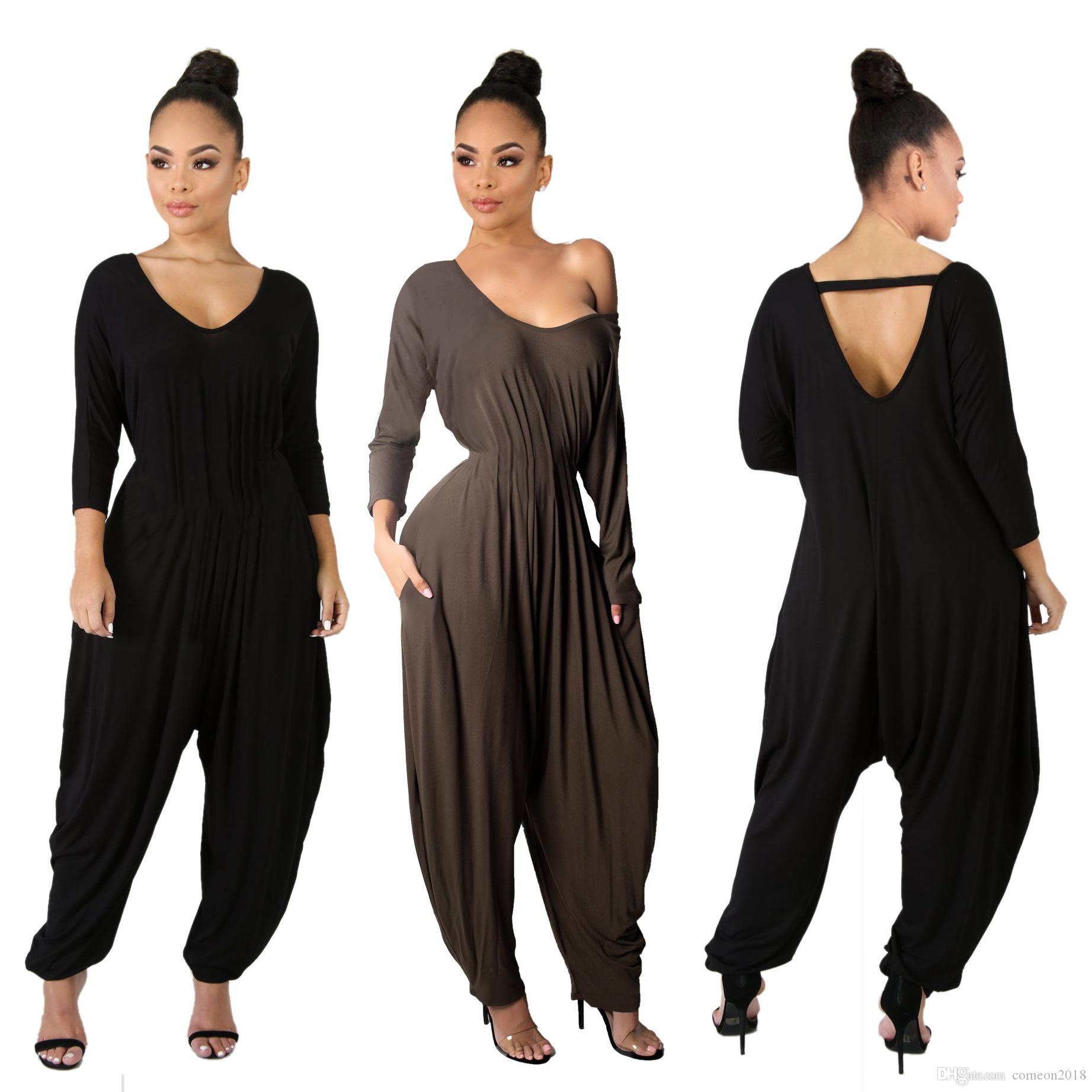 65c4310a6f83 2019 Designer Women Clothes Women Jumpsuits Off Shoulder Bodysuits Lantern Pants  Long Sleeve Rompers Overalls Women Full Length Black Playsuit From ...