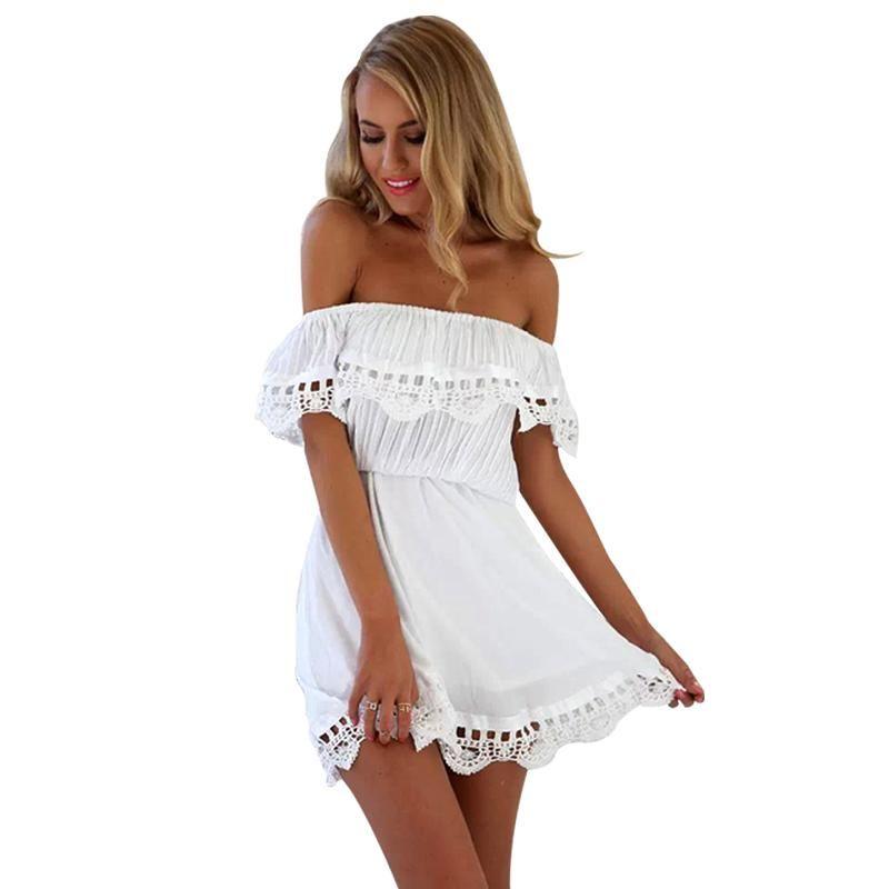 6f1f0ba88e AOWOFS Fashion Women Elegant Vintage Sweet Lace White Dress Stylish ...
