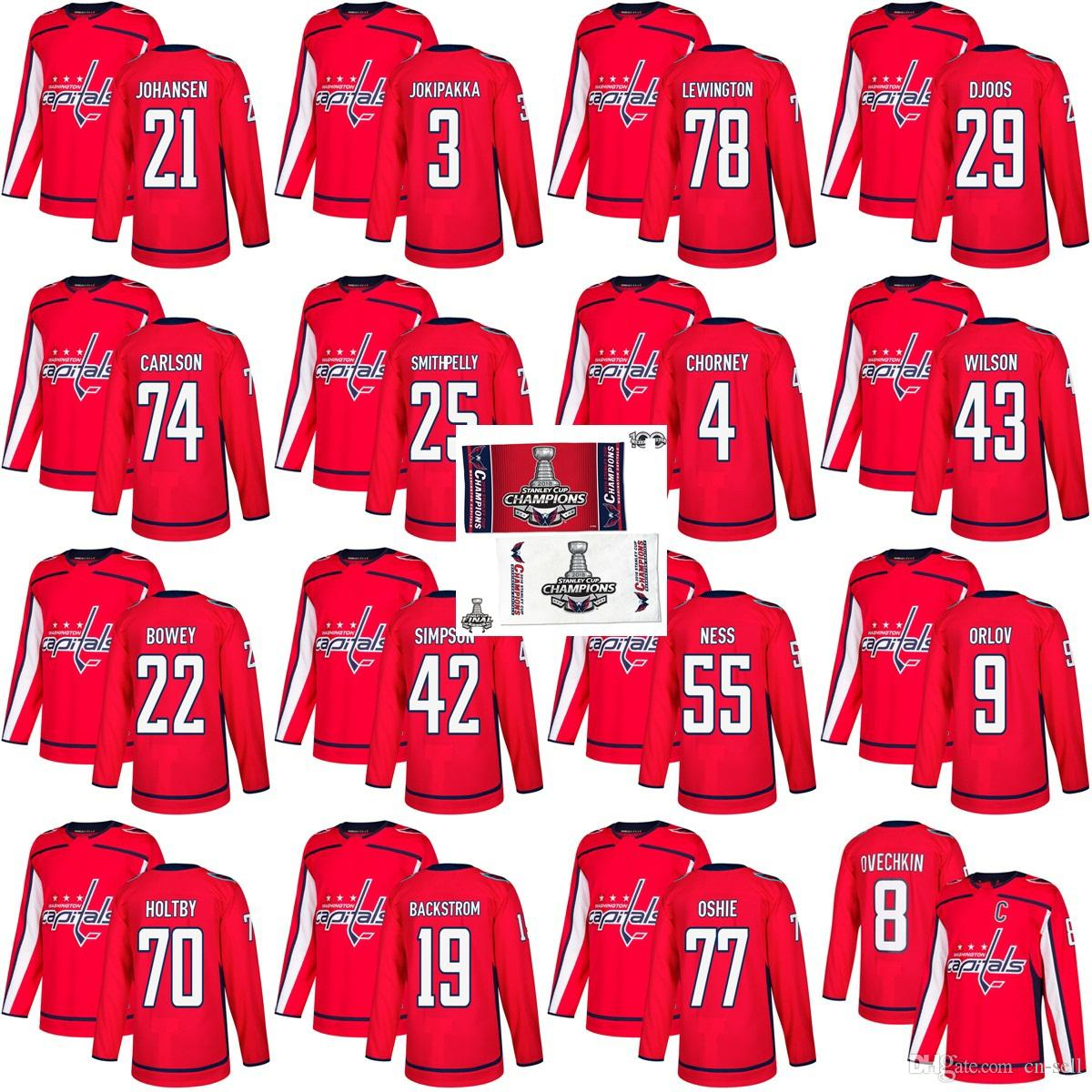 2018 2018 Stanley Cup Final Champion Washington Capitals 77 T.J. Oshie  Nicklas Backstrom 8 Alex Ovechkin Braden Holtby John Carlson Hockey Jersey  From Cn ... 2ce0c1897