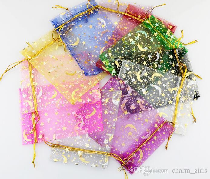 Sacchetti di filato bronzato sacchetti di gioielli regalo stelle luna orecchini sacchetto di immagazzinaggio del braccialetto sacchetti colorati garza 9 * 12 cm