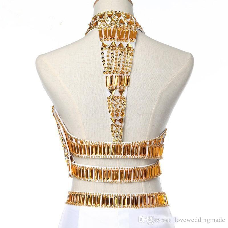 2018 Gold Crystal Beads Two Pieces Prom Dresses White Chiffon High Neck Thigh Split Long Evening Party Gowns Custom