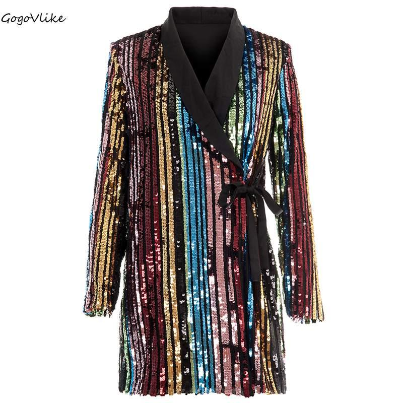 54402941 2019 Bling Sequins Blazers Women Colorful Striped Business OL Office One  Piece Suit Jackets Bar Coat Special Design LT515S50 From Regine, $97.77 |  DHgate.