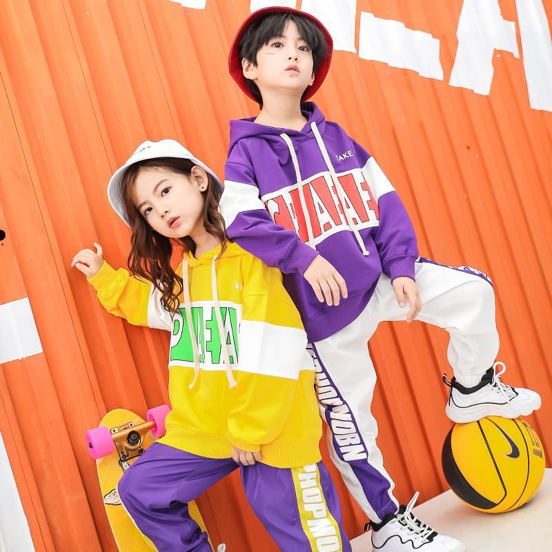 Compre Moda Crianças Hip Hop Outfit Primavera Outono Meninas Street Dance  Clothes Meninos Meninas Ternos Esportivos Crianças Trajes De Dança 2 Peça  ... 46e84732abf
