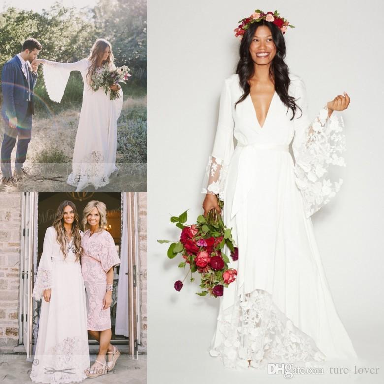 Vintage Wedding Dresses With Bell Sleeves: Discount Beach Wedding Dresses 2018 Boho Beach Wedding