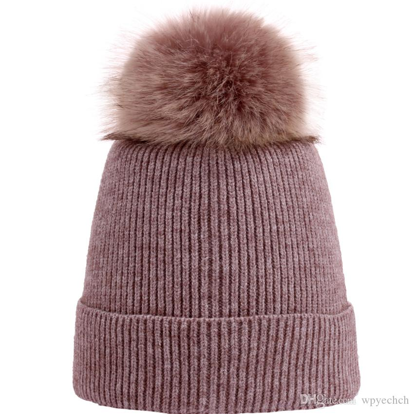 94522c56cf313 Knitted Hat Women Brand High Quality Winter Warm Caps Women Fur Ball  Knitted Hat For Snowing Skiing Wholesale Hats Caps Online From Wpyechch