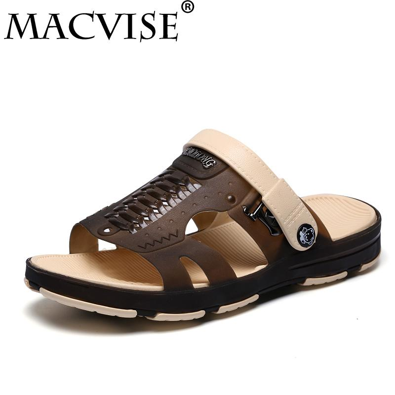 135dad10ade2 2018 New Summer Men s Jelly Sandals Slipper Lightweight Flip Flop Solid  Hollow Out Male Water Beach Shoes Zapatos Mujer For Men Cheap Shoes For  Women Buy ...
