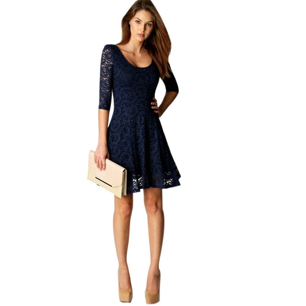spécial chaussure meilleur service recherche d'officiel Vetement femme 2018 Fashion Women Lace Half Sleeve vogue Party Evening  Short Mini Dress Sexy elegant Lace hollow ladies dresses