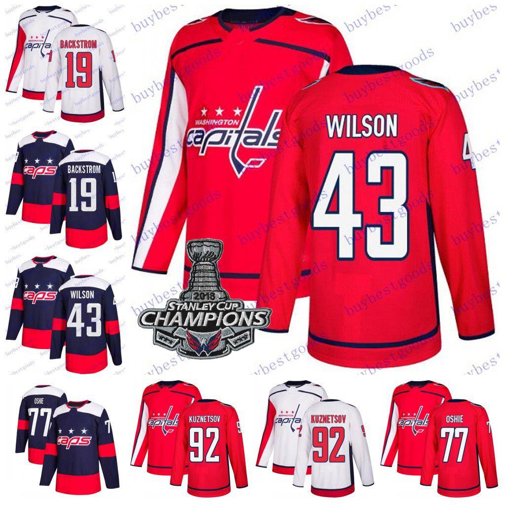 6800d6c1dfc 2019 2019 Stanley Cup Champions Washington Capitals 77 T.J. Oshie 19 Nicklas  Backstrom 92 Evgeny Kuznetsov 43 Tom Wilson Hockey Jerseys Men Youth From  ...