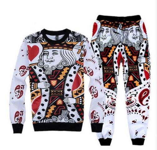 Sondirane El más nuevo 3D Print King / K Poker Face SweatshirtSweatpants Men Boy Jogger Pants Casual Tops Pantalones Ropa divertida