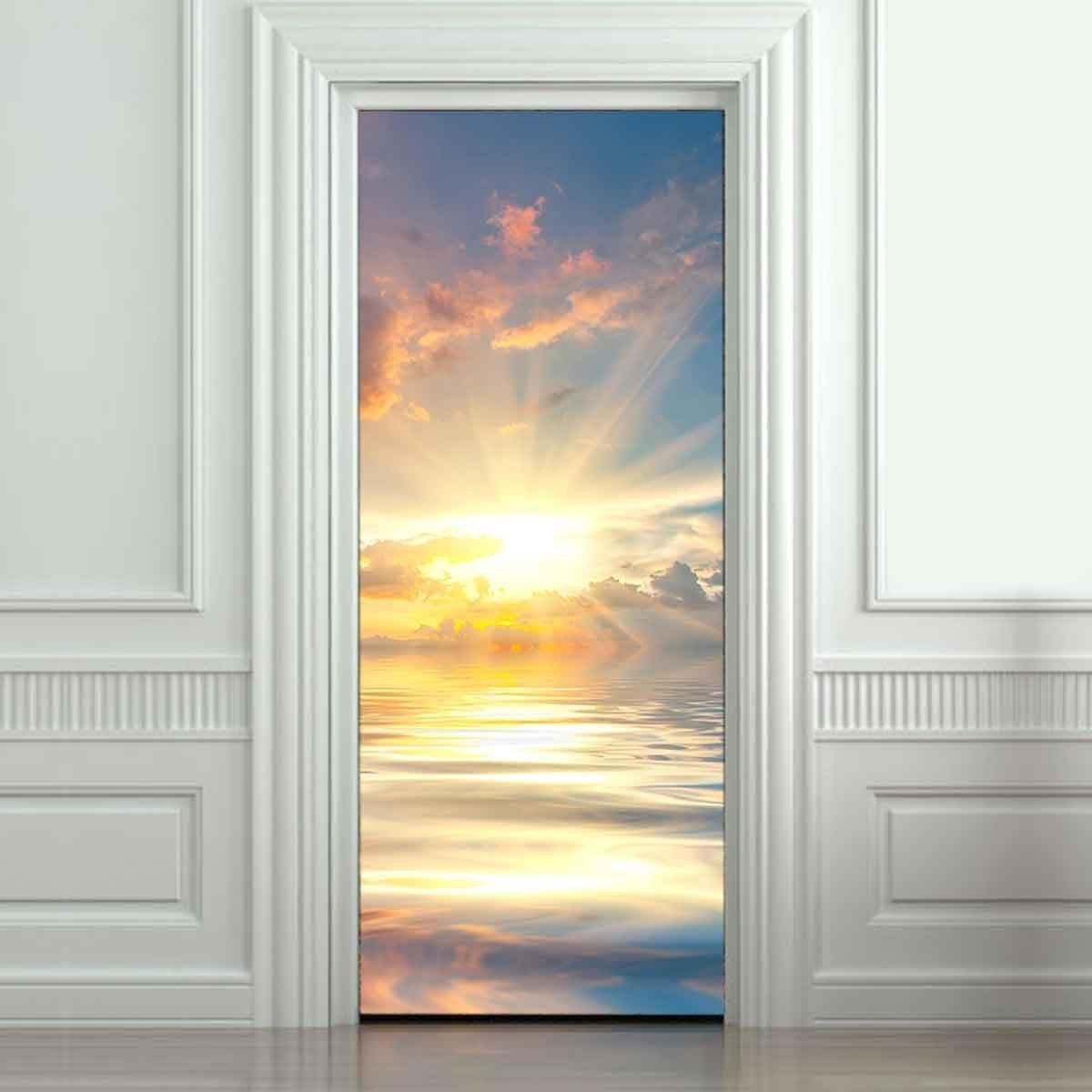 3d Large Natural Door Decoration Vinyl Stickers Morning Sunrise Wall ...