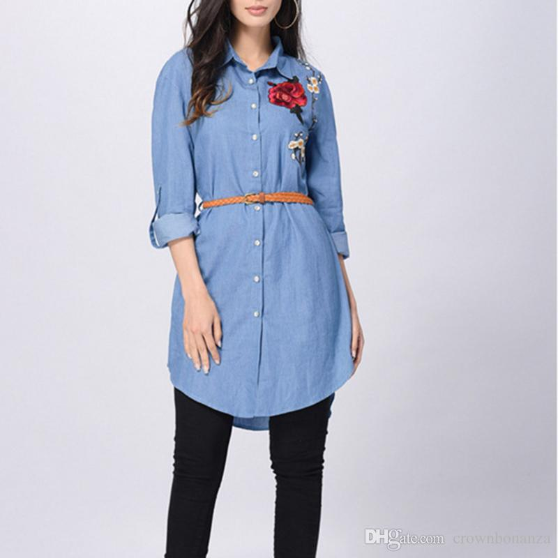 Women Blue Denim Shirt Dress Casual Loose Long Sleeve Embroidery ...