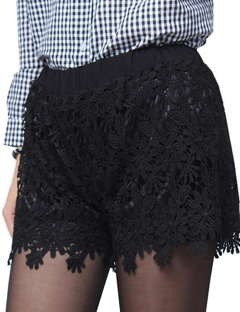2017 Fall Fashion Women Lace Shorts Floral Crochet Lace Elastic High Waist Short Feminino Casual Solid Hot Short Pants White