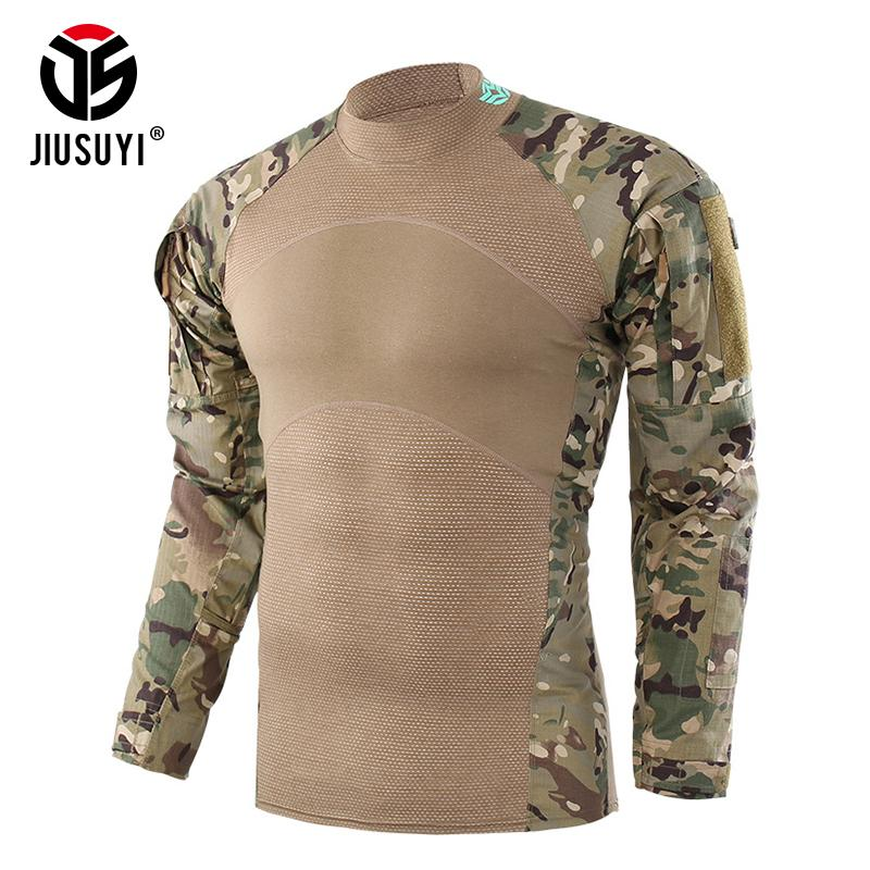 Camouflage Tactical Army T-Shirt Combat Force Uniform Clothing Shirts Long Sleeve Tees Outwear For Men Male