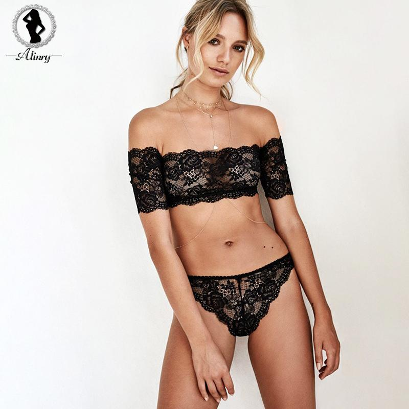7a5521a89f 2019 ALINRY 2018 Women Sexy Bra Panty Set Black Lace Floral Seamless  Bralette Lingerie Set Strapless Transparent Underwear Intimates From  Edmund02