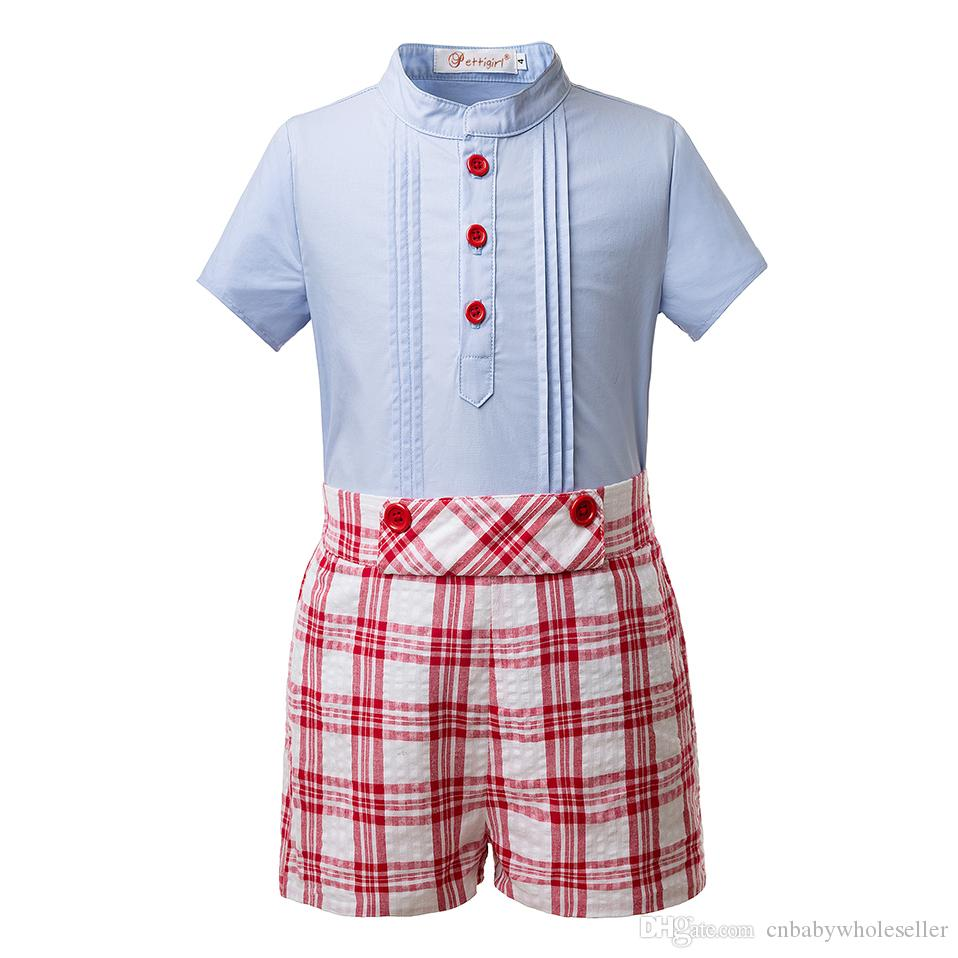 8cb7d62d75e Pettigirl Summer Boys Clothing Sets Blue Shirt And Red Grid Shorts ...