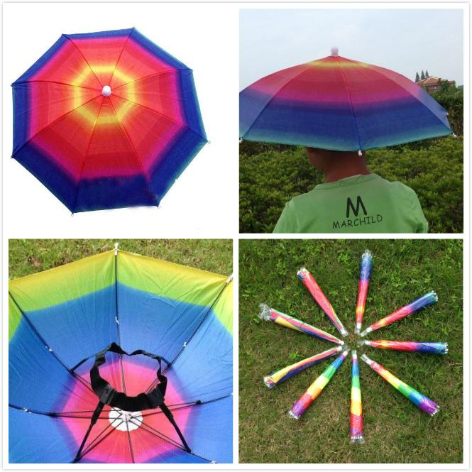d55b20e461c45 2019 New Outdoor Foldable Sun Rainbow Umbrella Hat Golf Fishing Camping  Shade Beach Headwear Cap Umbrellas Children 32 Cm From The one