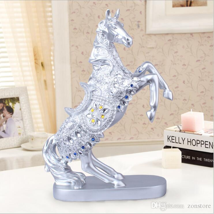 Longree 15.4inches Height Resin Golden/Silver Horse Statue Steed Animal Sculpture Horse Figurine Miniature Home Office Decor