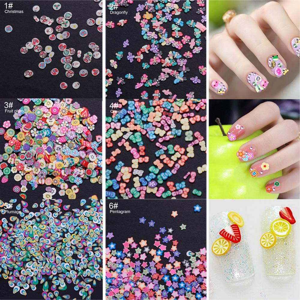 1000Pcs/Set Mixed Styles Nail Art Tips Fimo Polymer Clay Cane Nail Stickers DIY Manicure 3D Colorful Decorations Tools #280483