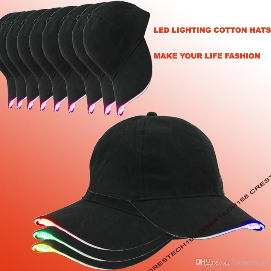 Led beleuchtung mode baesball hüte schwarz baumwollgewebe led beleuchtet glow club party hüte reise baseballmütze