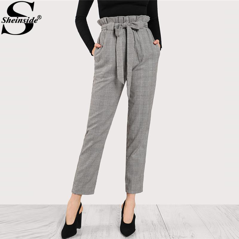 db8ed1fbe47 2019 Sheinside 2018 High Waist Tapered Pants Elastic Waist Frilled Tie Belt Plaid  Pants Women OL Style Work Trousers From Vanilla06, $30.58 | DHgate.Com