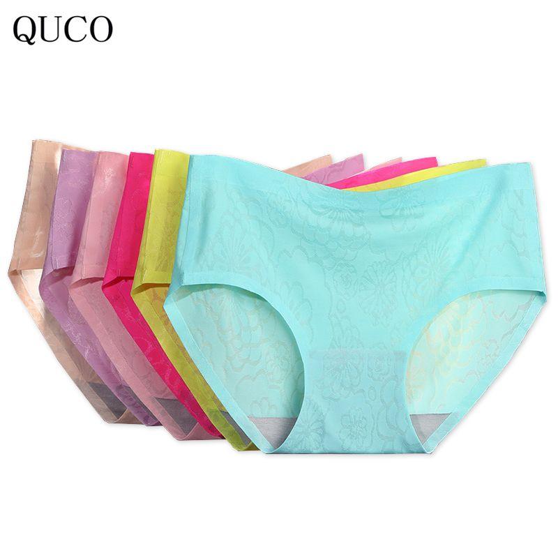 b6b9132b430 QUCO Brand Fashion High Quality Women Panties Transparent Underwear ...