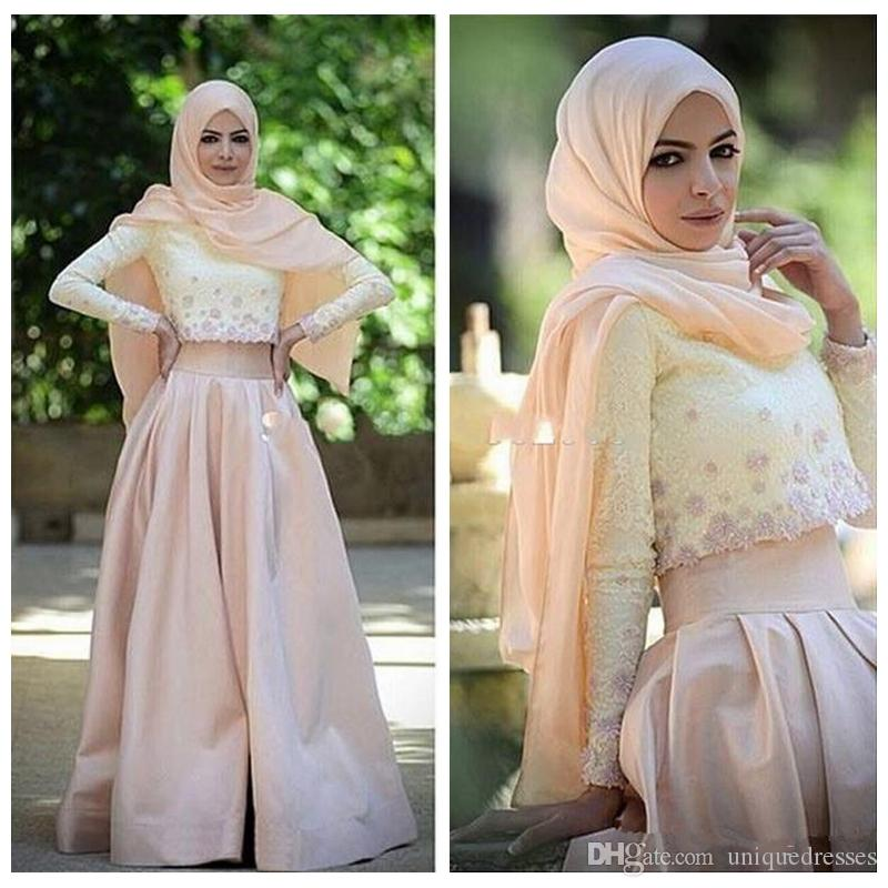 Two Pieces Muslim Evening Dresses Long Sleeves Lace Top A Line Satin Skirt Hijab Arabic Prom Gowns Formal Party Dress