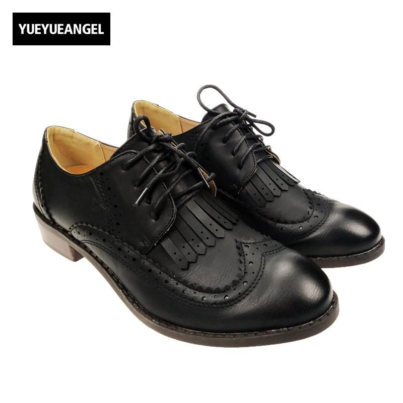 d62d393c3357c New Spring Vintage Fashion Womens Low Heels Shoes British Style Retro  Fringe Tassel Wingtip Brogues Lace Up Oxford Shoes Black