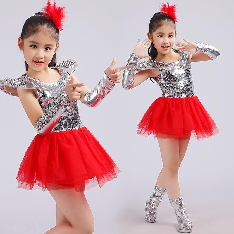 e7b2794e57ce 2019 New Children Jazz Dance Dress Girls Red Sequins Princess Modern ...