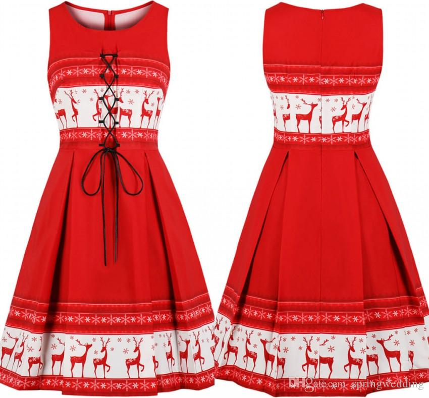 3ae4ab4f88f2e 2018 Christmas Red with White Deer Printed Women Casual Party Dress A Line  Crew Neck Knee Length Party Cocktail Holiday Dress FS6148
