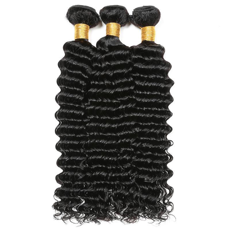 Arc-en-Reine Marque vague profonde avec dentelle fermeture 100% brésilien Bundles cheveux profonde vague humaine Cheveux Weave Cheveux Extensions du Brésil à l'état brut