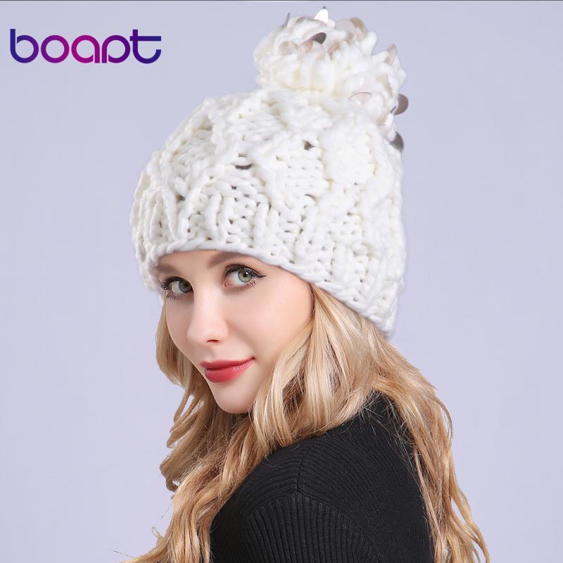 52bd67116d8 boapt Handmade Coarse Knitted Hats Pompon Bobble Hats For Girls Women  Skullies Beanies Warm Ladies Hat Winter Hat Female Cap Funny Hats Baseball  Hat From ...