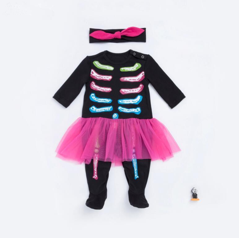 7eaae2a18181a Kids Long Sleeve Skull Romper Baby Boys Girls Halloween Rompers ...