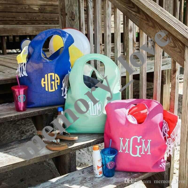 Personalizado!!!! Tote da Praia da juta Mulheres Grandes grande tamanho saco de Compras de Praia Ocasional sacos de Bagagem de armazenamento Aberto bolso Alfabeto Personalizado