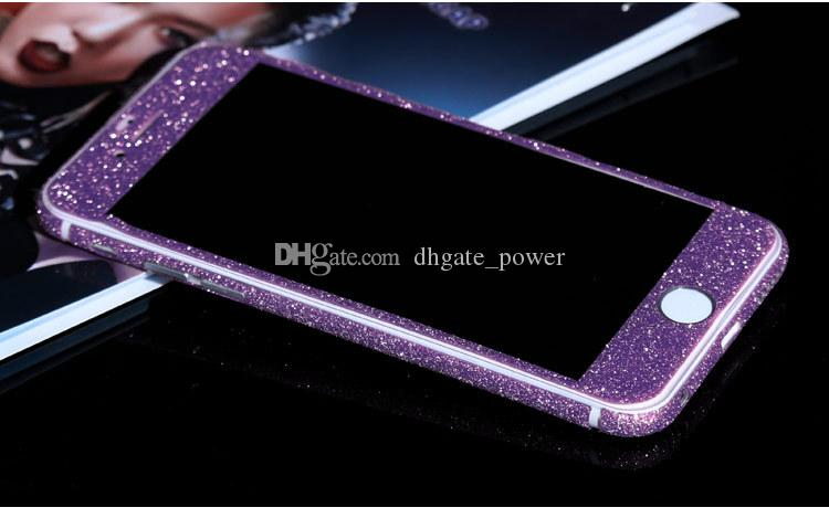 Glitter Bling Shiny Full Body Sticker Matte Skin Screen Protector For iphone7 7plus 6 6S plus 5 5S iphone 8 plus 6p/6sp Front+Back decals