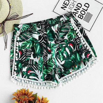 3a96229d6d 2019 Ladies Women Girl Printed Palm Leaf Beach Board Swimming Hot Pants  Shorts Beachwear Swimwear Swimming Shorts From Houmian, $27.92 | DHgate.Com