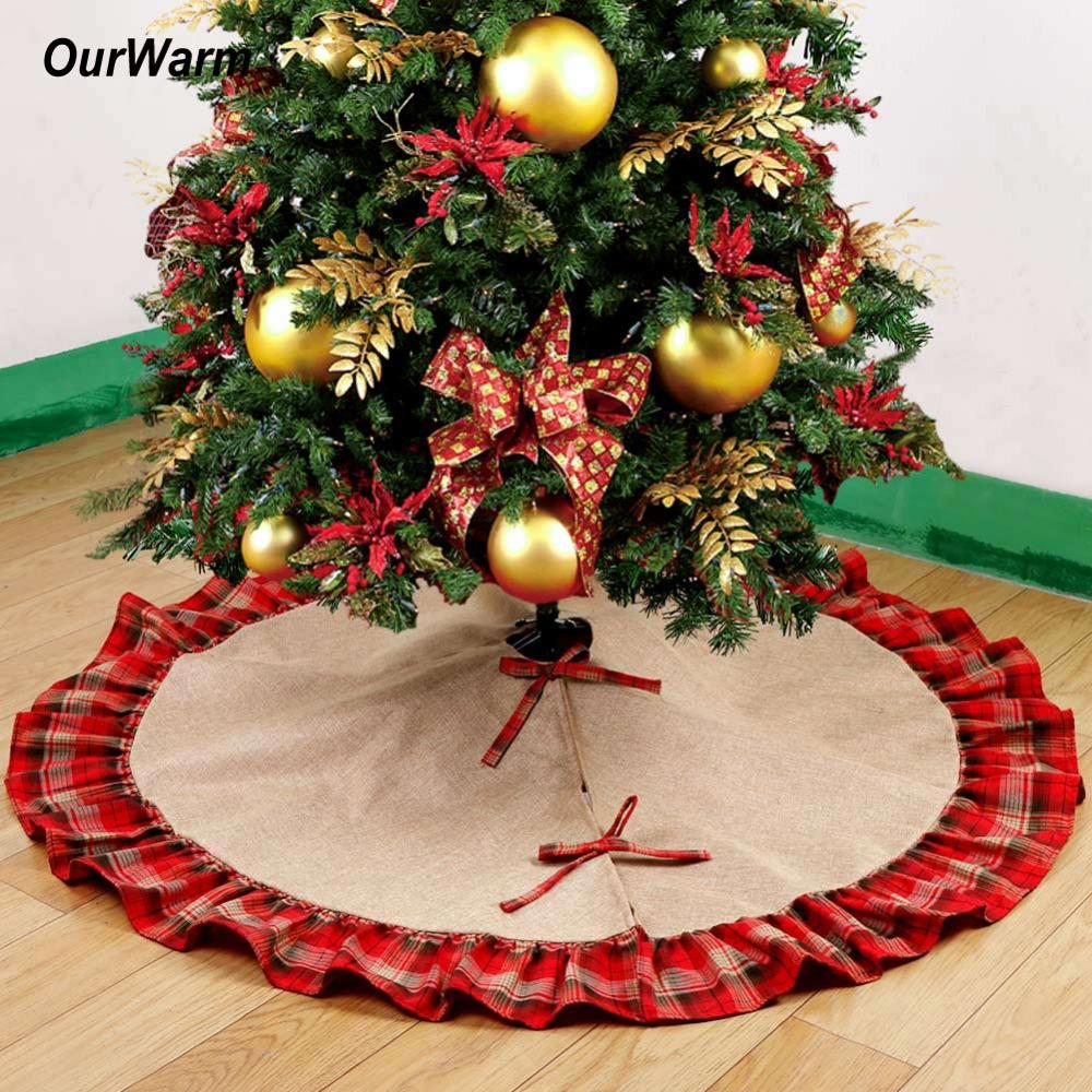 wholesale ourwarm pastoral style christmas tree skirts 48inch burlap black and red plaid ruffle edge christmas tree decorations for home christmas - Red And Black Plaid Christmas Decor