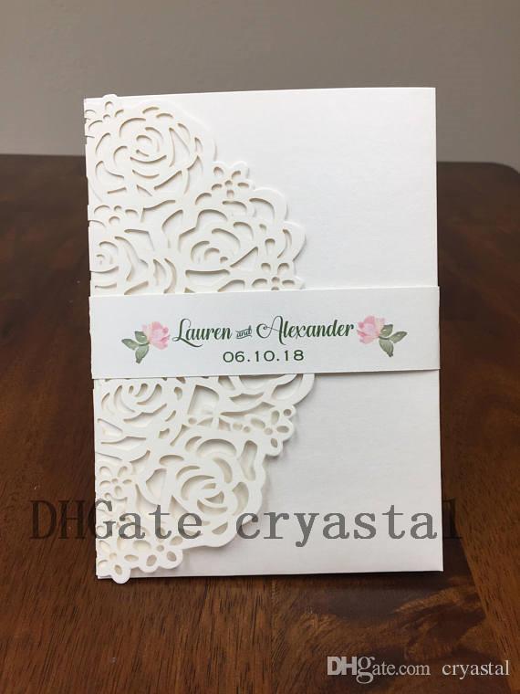Ivory Shimmer Sage Green Laser Cut Wedding Invitations Pocket