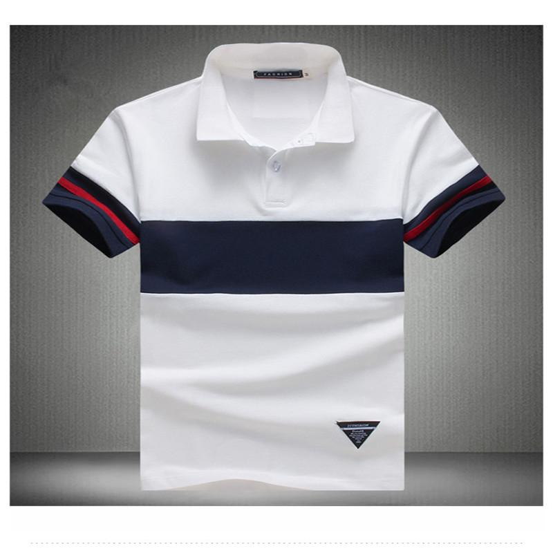 92% Cotton Camisa Polo Shirt Casual Stitching Stripes Slim Short -Sleeved Asian Size M-5XL New Brand Mens Solid Polo