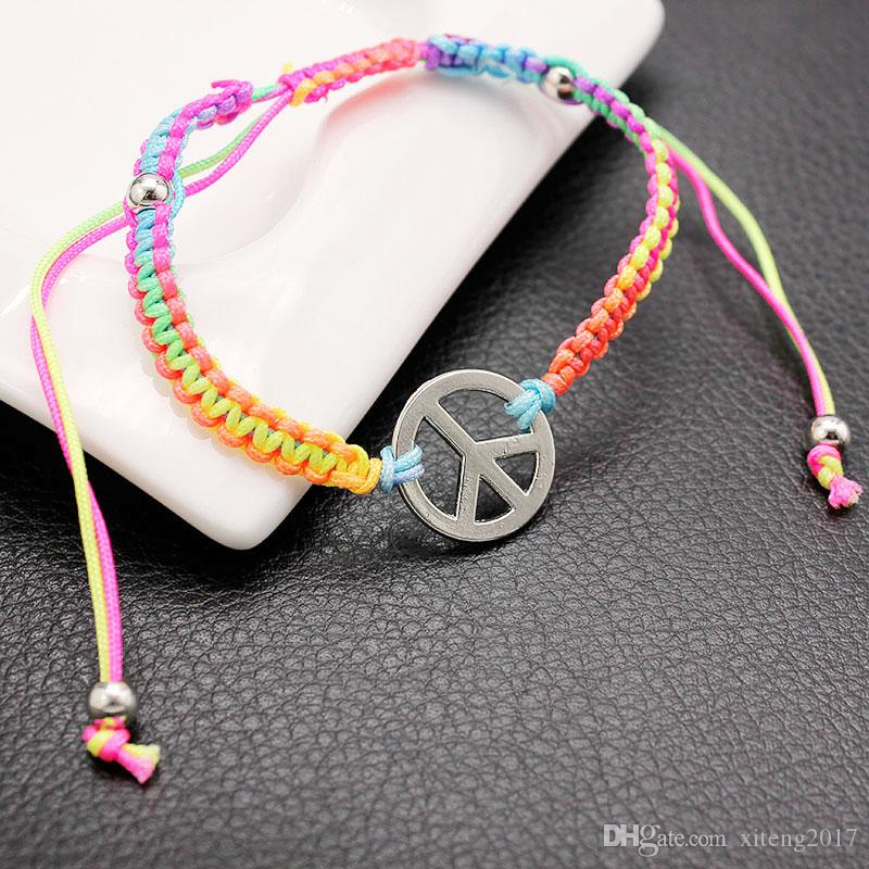 New Hand Woven Blue String Mens Bracelet Trendy Red Rope Chain Peace Symbol Charm Bracelet For Woman Gifts Wholesale Cheap Jewelry