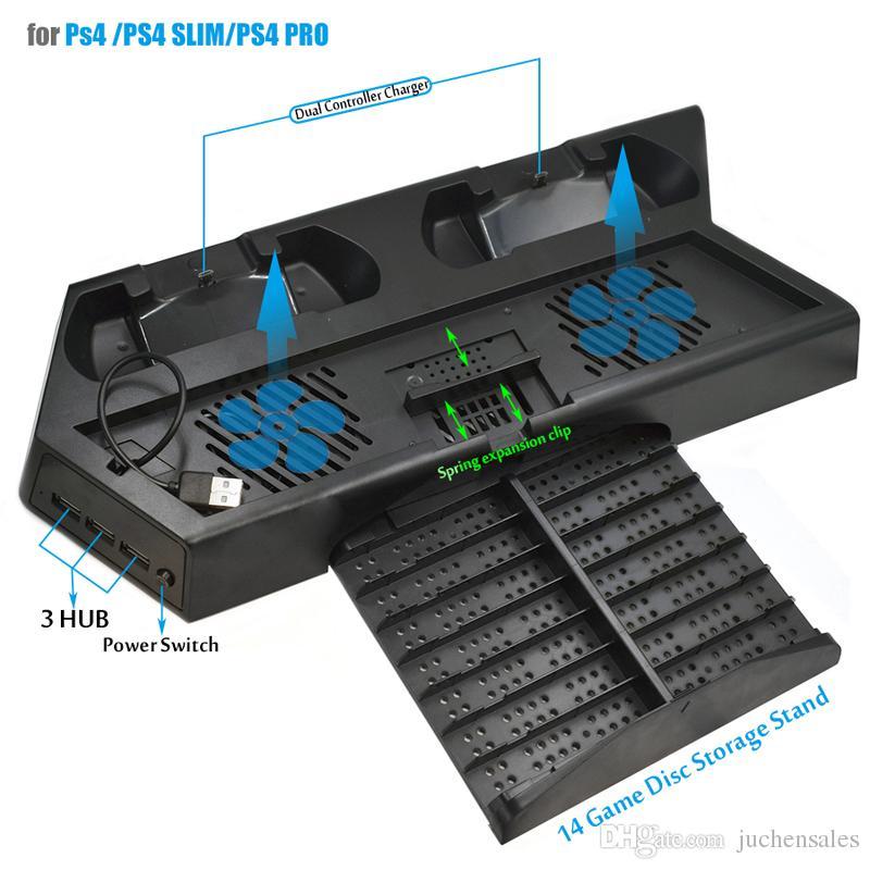PS4 Pro soporte vertical delgado ventilador de refrigeración con doble controlador de la estación de carga y 3 puertos HUB EXTRA para Sony Playstation 4 PS4