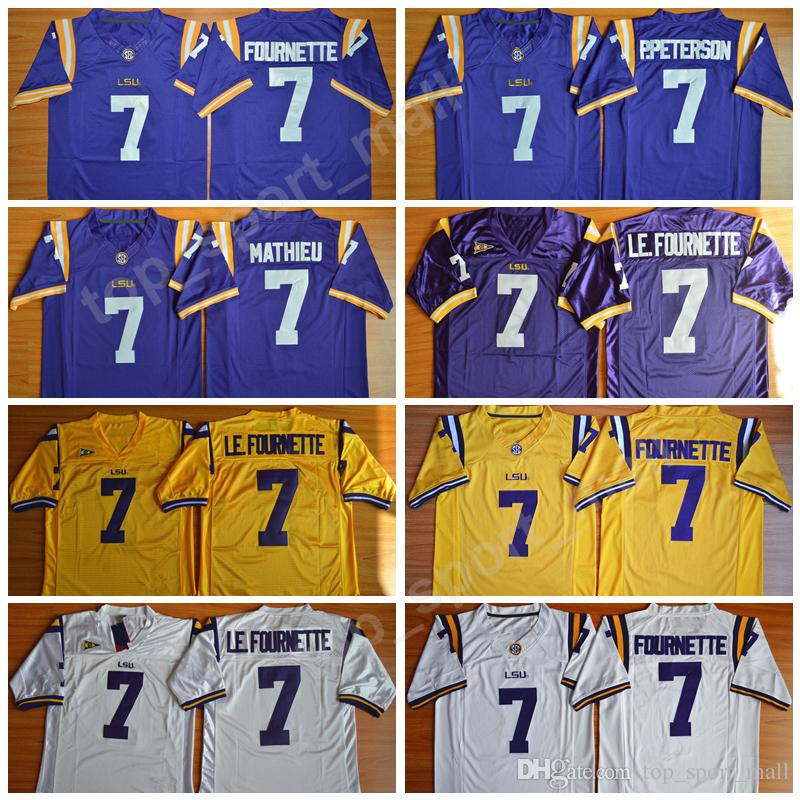 7517a928e LSU Tigers College Football 7 Leonard Fournette Jersey 7 Patrick Peterson 7  Tryann Mathieu Men Embroidery SEC Purple White Yellow Quality UK 2019 From  ...