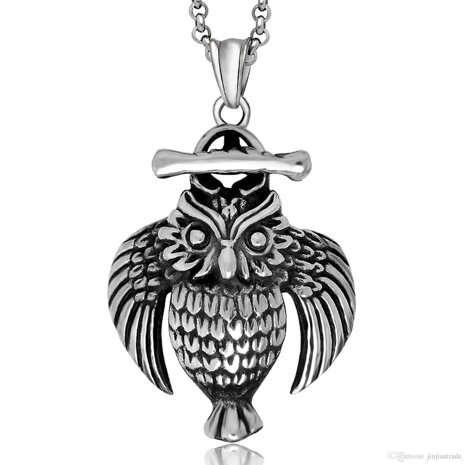Wholesale fashion mens jewelry novelty owl pendants necklaces for wholesale fashion mens jewelry novelty owl pendants necklaces for men male boy casual style chain 316 stainless steel name necklace gold necklace from aloadofball