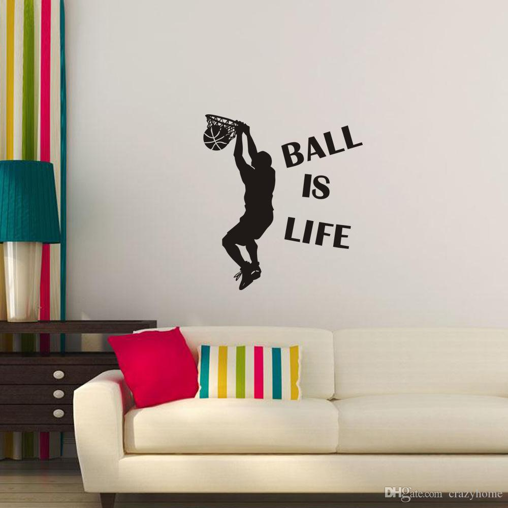 Ball Is Life Sport Wall Sticker Vinyl Slam Dunk Self Adhesive Wall